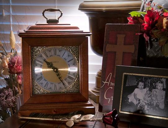 wooden clock cremation urn