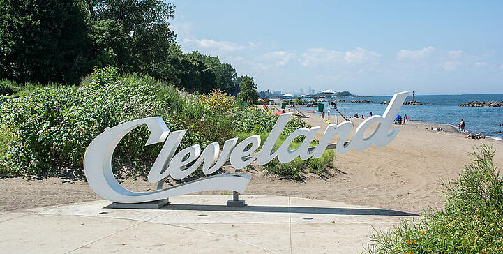 Cleveland Script Sign at the Beach