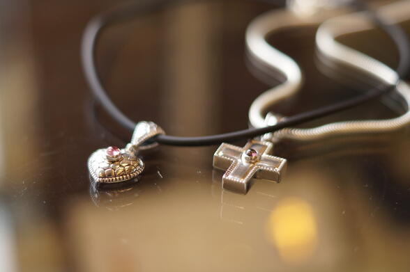Cremation Jewelry - Cross and Heart Necklaces