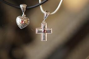 memorial jewelry heart and cross necklaces