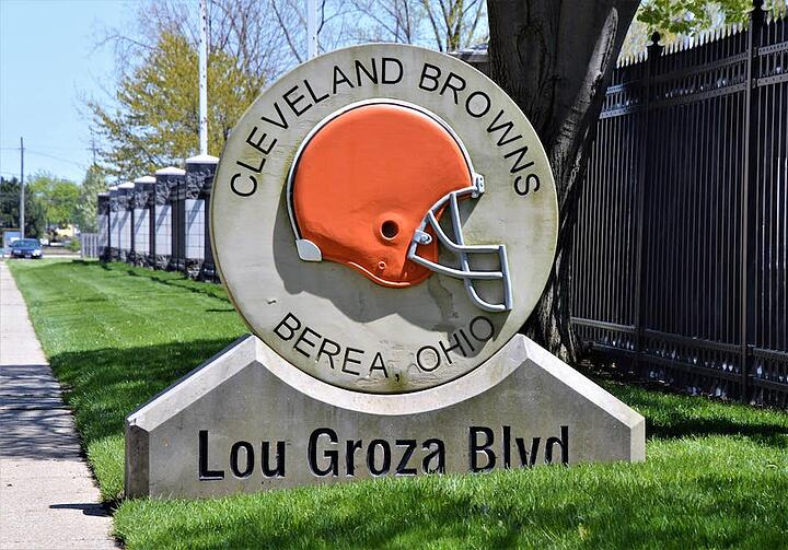 Cleveland Browns Facility Lou Groza Blvd Sign by Milano Monuments
