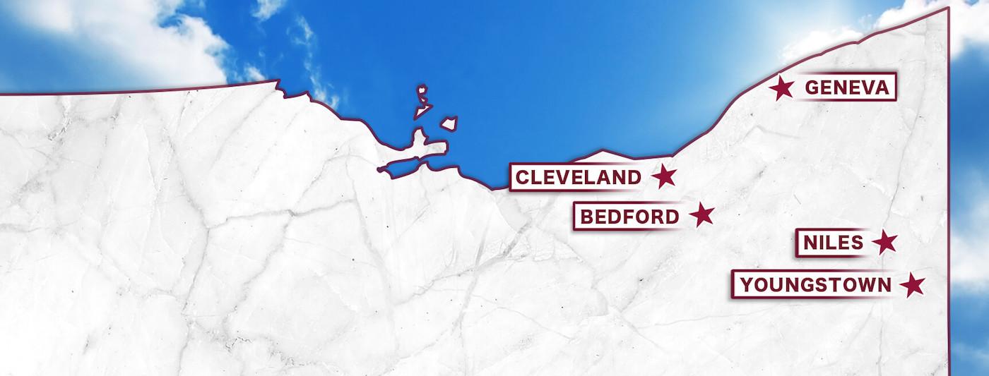 Milano Monuments Locations Map of Northeast Ohio