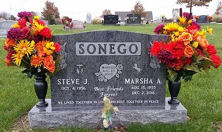 Sonego - Upright Cemetery Monument - Holy Cross Cemetery