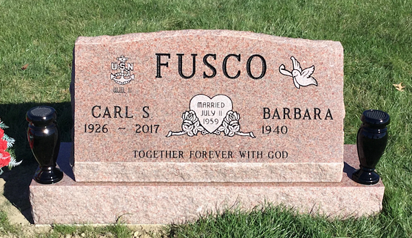 fusco sandblasted letters slant headstone memorial
