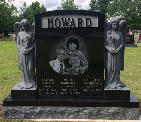 Howard Hand Etched Upright Monument Memorial