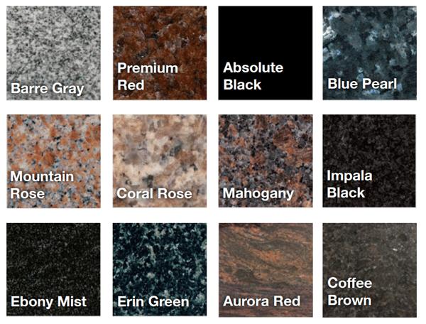 headstone memorial granite colors and varieties