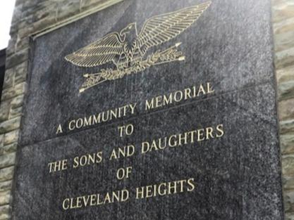 World War II Memorial - Cleveland Heights post restoration new gold