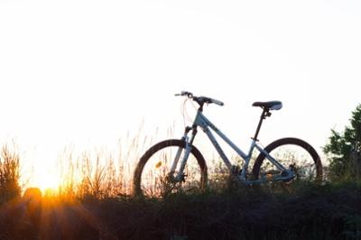 bike at sunrise in a field