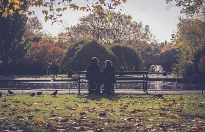 couple talking at a park
