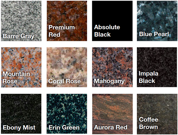 granite colors and varieties small