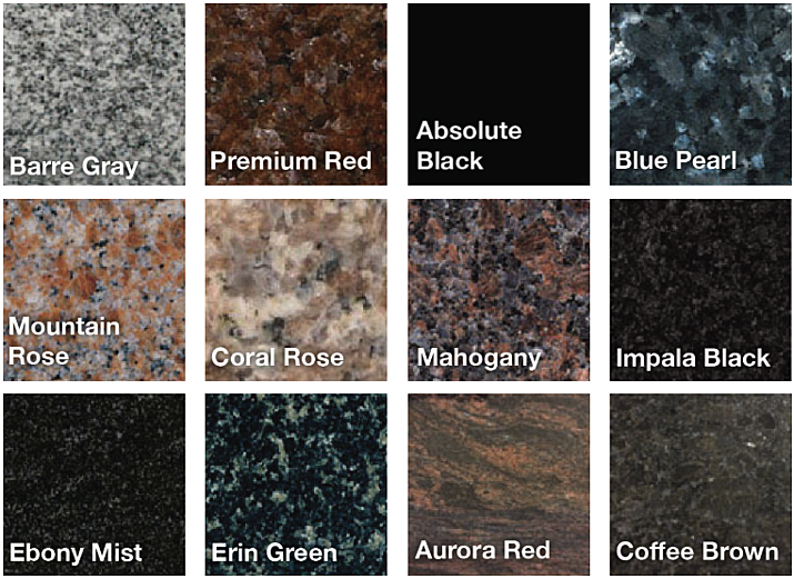 memorial granite colors and varieties - gray red black pearl rose black brown green