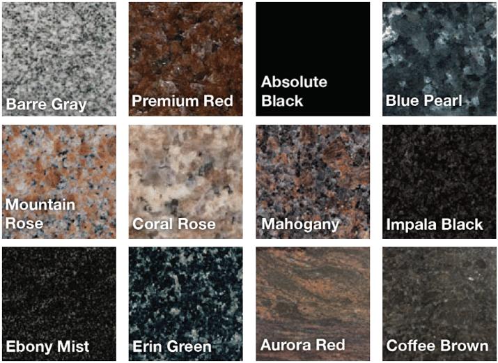 memorial granite colors and varieties - gray red black pearl rose black brown green