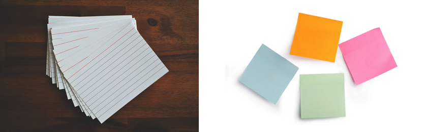 note cards and post it notes