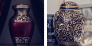 two cremation urns for holding cremated remains